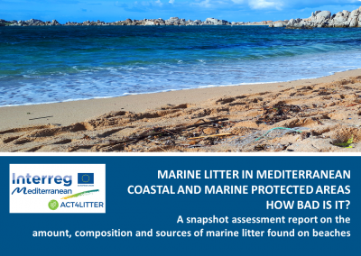 Marine  Litter  in  Mediterranean  coastal  and  marine  protected  areas.  A  snapshot  assessment  report  on  the  amounts,  composition  and  sources  of  marine  litter found on beaches. Interreg Med ACT4LITTER & MIO-ECSDE, 2019
